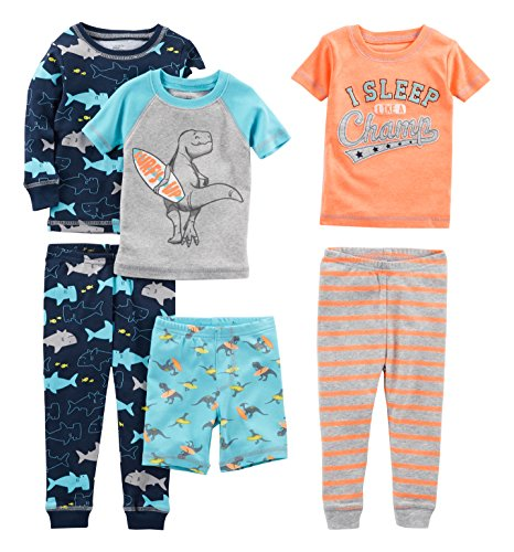 Simple Joys by Carter's Baby Boys' 6-Piece Snug Fit Cotton Pajama Set, Shark/Champ/Surf, 6-9 Months