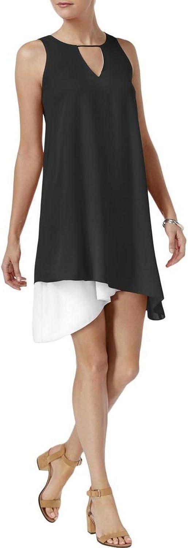 Bar III Women's Asymmetrical Contrast Dress Deep Black XL
