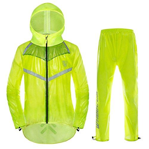 GWELL Ultraleicht Fahrrad Regenanzug 100{208bbe9d642914cdd1d93ea42c82701cd41d766fc897e9aadd37d8e596be3613} Wasserdicht(Jacke + Hose) Visible Reflektierend, Grün, Etikettengröße XXX-Large = UK Large