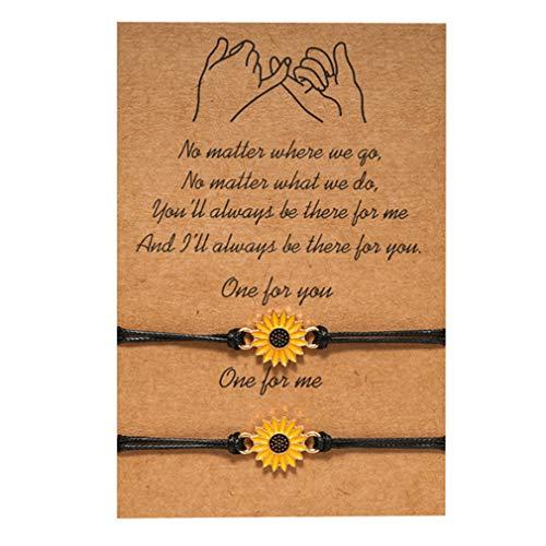 MOONRING - Juego de 2 pulseras trenzadas de cuerda con girasol, verano, pulsera de amistad, para mujeres y hombres