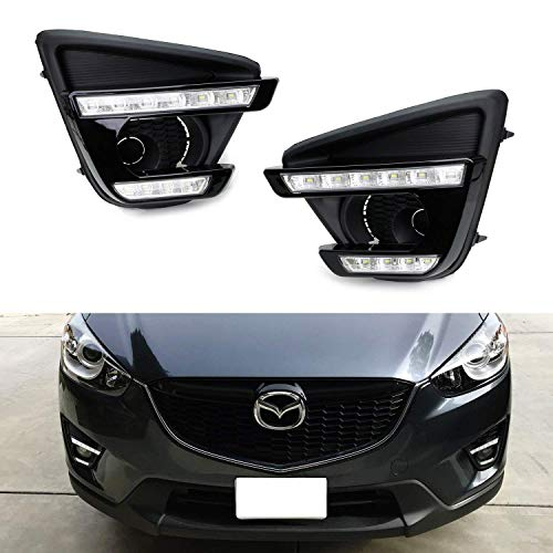 iJDMTOY Xenon White LED Daytime Running Light/Fog Lamps Compatible With 13-16 Mazda CX-5, Direct Double-Row Facelift Design Powered by 10W High Power LED Lights