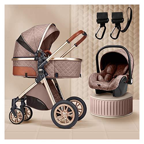 Sistema De Viaje De Bebé 3 En 1, Sistema De Viaje Para Bebés Infantiles Portátiles, Cochecito De Bebé, Cochecito De Bebé Con Gancho De Cochecito, Adecuado Para Bebés De 0 A 36 Meses ( Color : Brown )
