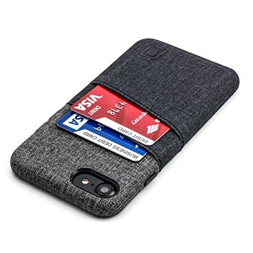 Dockem Cover Portafoglio per iPhone SE 2, iPhone 8 e 7: Custodia Sottile Porta Carte di Credito con Piastra Metallica Integrata per Supporto Magnetico: Serie M [Luxe M2 Nero e Griggio]