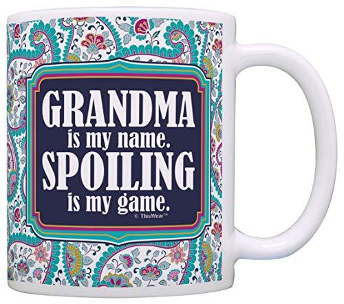 Tazza Mug Tazza Mug Regalo per la nonna La nonna è il mio nome Spoiling è il mio gioco Regalo Tazza da caffè Tazza da tè Paisley 330Ml