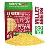 Sincerely Nuts Raw Hulled Millet Seeds (2lbs bag)   Gluten Free Grain for Flour, Cooking, Beer Making and Bird Seed   Easy to Digest Superfood   Kosher & Vegan Friendly Protein