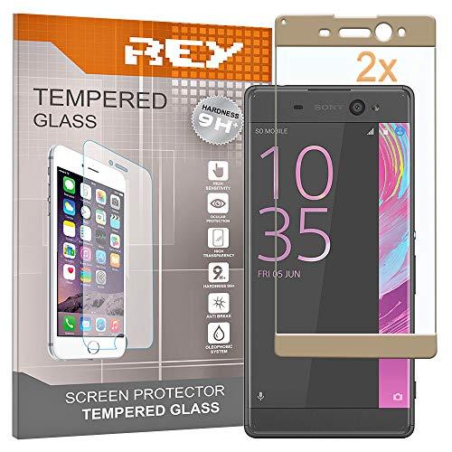 REY 2X Protector de Pantalla 3D para Sony Xperia XA Ultra, Oro, Protección Completa, 3D / 4D / 5D