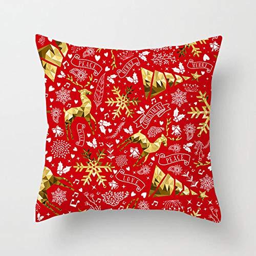 wefwef 18 X 18 Pulgadas,Cubierta De Cojín De Navidad Cuadrado Color Sofá Almohada Funda De Asiento Coche Casa Decoración Lanzamiento Almohada Navidad Navidad Decoración para El Caso De Cojín De Coche
