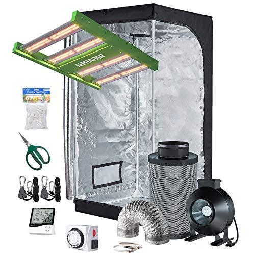 Hydro Plus AlphaPar Grow Tent Kit Complete LED Grow Light 100W+32''x32''x63'' Grow Tent+4'' Filter Fan Ventilation Combo Hydroponic Indoor Growing System(LED 100W-P, 32''x32''x63'' Kit)