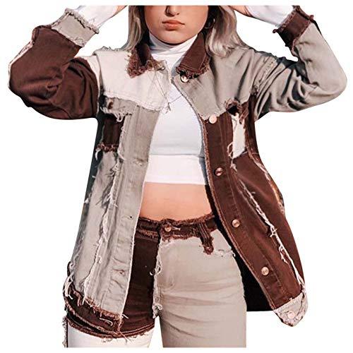 Routinfly Sweatjacke,Jeansjacke Damen Mode,Oberteile Jacket,Langarm Strickjacke,Denim Mode Jeansjacke,Farbige passende Langarm-Jeansjacke für Frauen