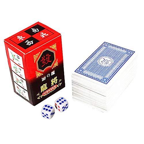 Renoble Mahjong Kartenspiel Chinesische Traditionelle Mahjong Spielkarten Mit 2 Würfeln Für Spaß Tischkartenspiel 144 Karten/Set Das Klassische Chinesische Kachelspiel In Spielkartenform