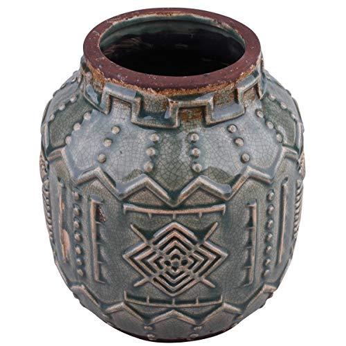 Dadeldo Home Vase Ethno-Chique Steinguss 19x18x18cm Petrol-Mix Dekoration Gefäß Blumen Pflanzen