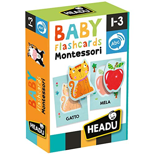 Headu- Baby Flashcards Montessori Gioco Educativo, Multicolore, IT21666