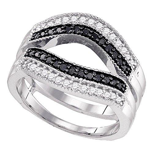 Jewels By Lux - Anillo de oro blanco de 10 quilates para mujer, redondo, color negro, con diamante mejorado, para mejorar el solitario, 1/2 quilates, en pavé (claridad I2-I3), color negro