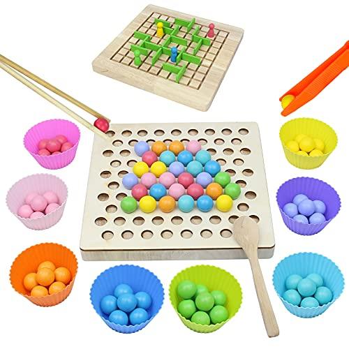 Juguetes de Madera Juegos de Mesa Juegos Montessor Puzzles 3D Laberintos para Niños Educación Temprana Palillos Cuentas Rompecabezas Manos Cerebro Entrenamiento Juguetes Niños 3 4 5 6 Años