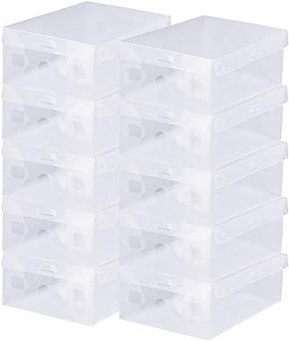 BUZIFU 20 Boîtes à Chaussures Transparente, Boîte de Rangement à Chaussures en Plastique Pliable et Empilable, Etagère à Chau