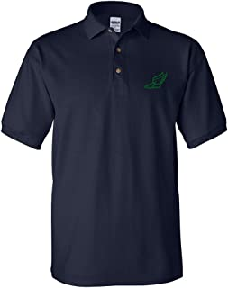 Speedy Pros Large Winged Shoe Outline Embroidery Adult Unisex Cotton Polo Shirt
