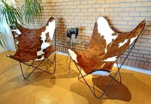 Nueva Funda para Silla Butterfly y Silla bkf Original de Cuero de Vaca Natural (Blanco-Marron)