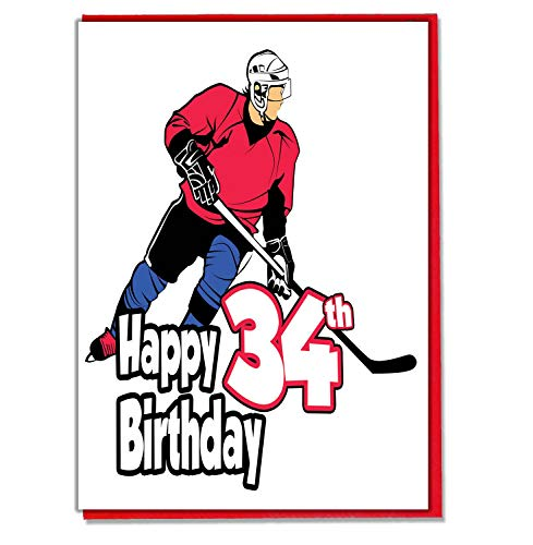 Eishockey – 34. Geburtstag Karte – Herren, Sohn, Enkel, Vater, Bruder, Ehemann, Freund, Freund