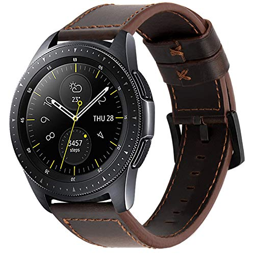 iBazal 20mm Armband Leder Uhrenarmband Armbänder Lederarmband Ersatz für Samsung Galaxy Watch 3 41mm/Samsung Galaxy Watch 42mm/Active 40mm/Huawei 2/Gear S2 Classic/Ticwatch 2/E (Ohne Uhren) - Kaffee