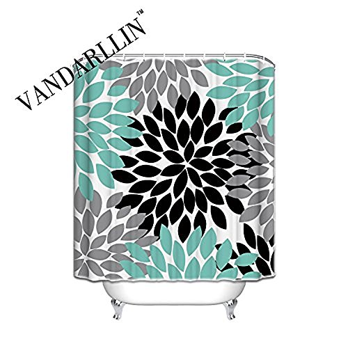 Vandarllin Multicolor Dahlia Pinnata Flower Customized Bathroom Shower Curtain - Waterproof Polyester Fabric Bath Curtain Design,Yellow,Grey,Blue(Extra Long 72x84