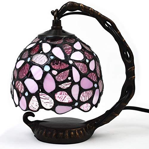 ステンドグラスランプ ハナハナ ピンク テーブルランプ 吊り型 1灯 間接照明 アンティークランプ