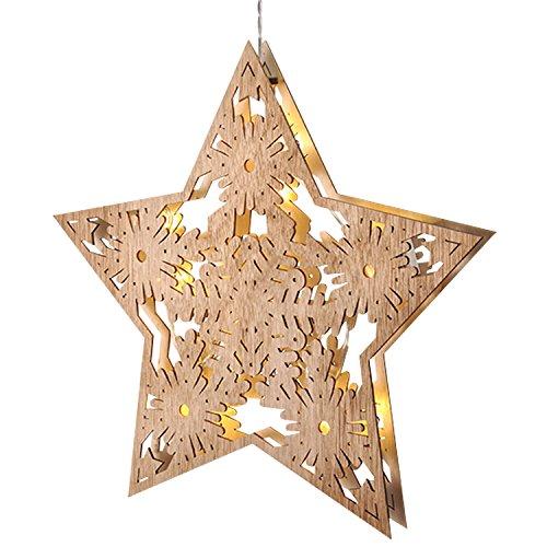 gartenmoebel-einkauf Fensterbild Weihnachtsstern aus Holz 33cm, LED Beleuchtung