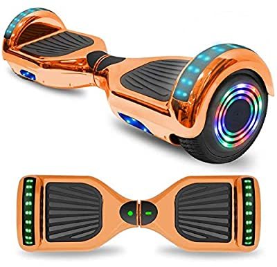 "TPS 6.5"" Chrome Hoverboard Electric Self Balancing Scooter w/Bluetooth UL2272 Certified LED Lights (Chrome Rose Gold)"
