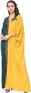 فستان جميل بنمط اسلامي للنساء وبتصميم جديد بلون اصفر واخضر وبياقة على شكل حرف في