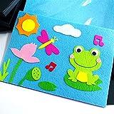 TLBBJ Juguetes artesanales Niños creativos DIY Dibujos Animados DIY Pegatina Juguetes Juguetes No Tejidos Fieltro Collage Cute Decoration Pegatinas Sencillo (Color : Frog)