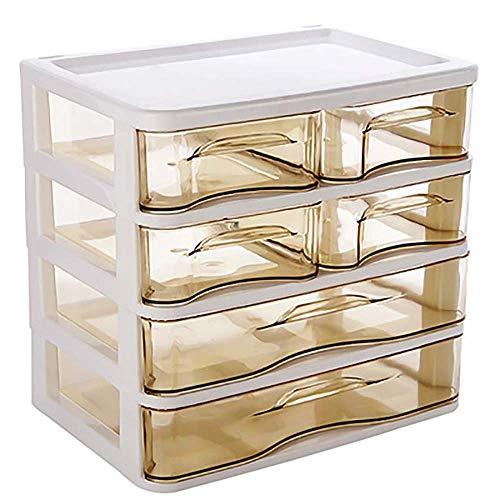 Preisvergleich Produktbild Schmuck Aufbewahrungsbox 4 Schichten Desktop-Make-up Organizer Schubladen aus Kunststoff Kosmetik-Box Schmuck-Behälter-Speicher-Fall löschen Schmuck-Box für Frauen ( Color : Clear ,  Size : 4 layer )