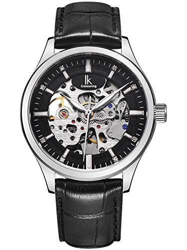 Alienwork IK Herren Damen mechanische Automatik-Uhr Silber mit Lederarmband schwarz