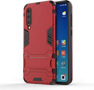 QFH Shockproof PC + TPU Case for Xiaomi Mi 9 SE, with Holder (Black) new style phone case (Color : Red)