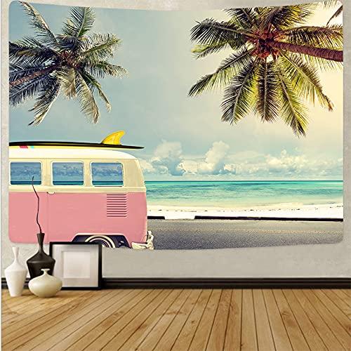 ydlcxst Tapiz Hippie Playa Árbol De Coco Estilo Boho Tapiz Colgante De Pared Hermoso Mar Puesta De Sol Arte Sala De Estar Decoración del Dormitorio 140X210Cm /3516