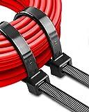 Bridas para cables grandes de 200 libras Bridas para cables industriales negros de 11 pulgadas Bridas para cables de plástico extragrandes para manejo de cables, al aire libre 50 piezas