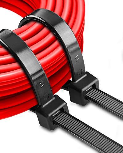 Grands serre-câbles longs 500 mm 20 pouces Noir Attaches zippées Heavy Duty 12,4 mm Ziptie Strong Extra Long Cable Tie Wraps Ourdoor Attaches en plastique pour la gestion des câbles, clôture, garage