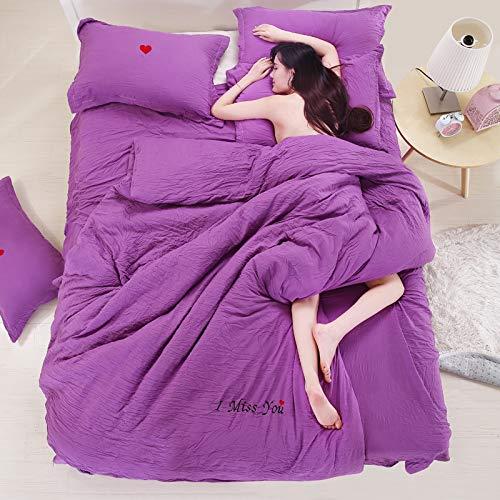 WYSTLDR Funda de edredón de Cuatro Piezas de Estilo Coreano de algodón Lavado de Color Puro Que Puede Dormir Desnuda, Ropa de Cama. Violet es Adecuada para una Cama de 1,8 m