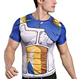 sibaway | T-Shirt de Compression Vegeta DBZ | Tshirt Musculation Crossfit Dragon Ball | Déguisement Cosplay Manga