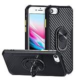 QLTYPRI Case for iPhone 6 iPhone 7 iPhone 8 iPhone SE 2020, Carbon Fiber Transformer Armor Design TPU Bumper with Rotation Ring Kickstand Shockproof Cover for iPhone 6/7/8/SE 2020 – Black
