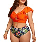 Conjunto Bikini Sujetador Bragas Bañador 2 Piezas, Volante de mujer cintura alta 2 piezas de traje de baño recorte delantero con cordón superior top flor de hojas de flores con estampado de bikini set