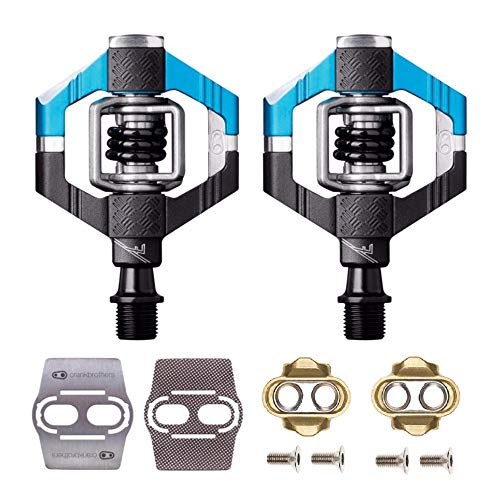 Crank Brothers Candy 7 Bike Pedals Pair (Blue/Black) with Premium Cleats and Shoe Shields Set for Traction