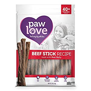 PawLove Dog Treats Quick and Crunchy Gourmet Beef Stick Recipe Dog Snacks – Light and Airy Chew – Rich in Delicious Beef Flavor – Healthy Grain Free, High Protein Chew – Large Dog Size – (2.2 lb. bag)