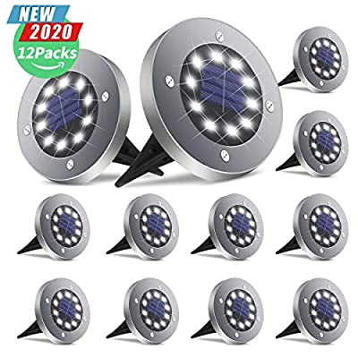 BROOM Solar Ground Lights, Bright 10 LED Disk Lights Solar Garden Lights Outdoor Waterproof Patio In-Ground Lights for Lawn, Pathway, Yard, Driveway, Step and Walkway (12 Packs, Cold White)