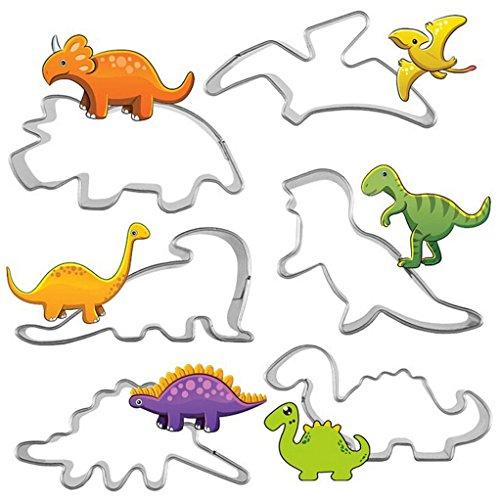 SEVENHOPE 6 Stück Edelstahl Dinosaurier Ausstechform Plätzchenform Ausstecher Keksform Keksausstecher für Plätzchen Kekse Fondant