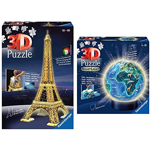 Ravensburger 12579 3D Puzzle Eiffelturm bei Nacht mit 216 Teilen, für Kinder und Erwachsene, Wahrzeichen von Paris im Miniatur-Format & 3D Puzzle 11844 - Nachtlicht Puzzle-Ball Globus - 72 Teile