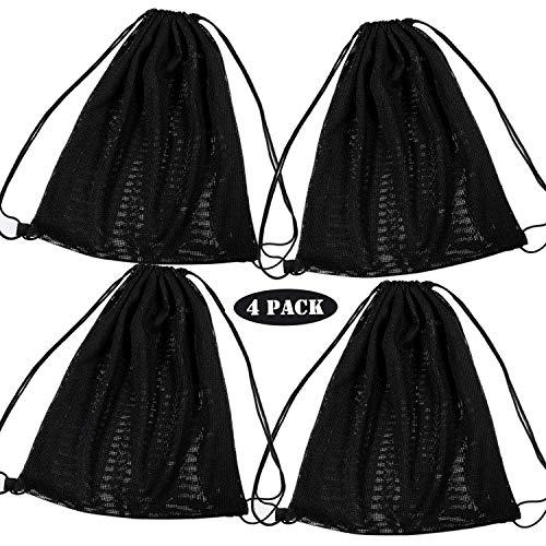 mimiliy Bolsa de mochila con cordón de malla de 4 Paquete, bolsa de cuerdas negras Multi Funcional Malla de malla bolsa con correas de hombro con cordón para nadar, playa, buceo, viajes, gimnasio, cam
