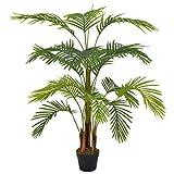 vidaXL Planta Artificial Decoración Palmera Maceta Flores Decorativas Realistas Exterior Interior Oficina Hojas Plástico 120 cm Alta Verde Marrón