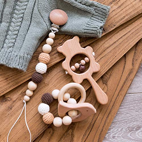 3pcs Wooden Baby Rattle Toys Set Crochet Beads Pacifier Holder & Sensory Bird Shape Teether Bracelet Squeaker Wooden Hand Grip Bell Rattle Toy Organic Montessori Toys (Brown)