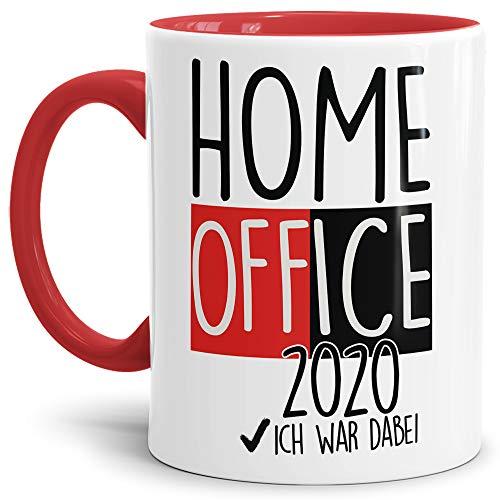 Home Office Tasse mit Spruch - Home Office 2020 - Kaffee-Tasse/Arbeit/Job/Lustig/Erinnerung Krise Virus 2020 - Innen & Henkel Rot