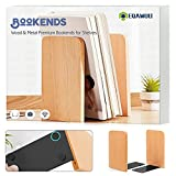 Book Ends, Non-Skid Bookends Supports for Bookrack Desk, Books, Natural Beech Wood & Metal Premium Appearance Design, Back to School Gift Box Book Ends to Hold Books