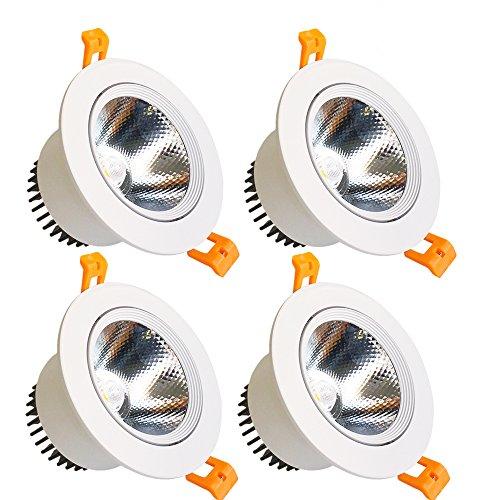 lightingwill 9 W COB LED Spot Encastrable directionnel cri80 3,6 de la découpe en (90 mm) 60 Angle de faisceau Plafonnier 80 W équivalent ampoules halogènes - 4-Pack Dimmable Natural White